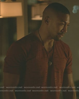 Marcel's red v-neck burnout t-shirt on The Originals