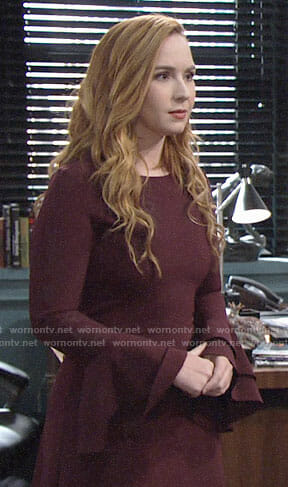 Mariah's burgundy bell-sleeve dress on The Young and the Restless