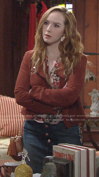Mariah's floral blouse, denim skirt and suede jacket on The Young and the Restless