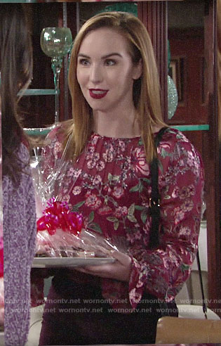 Mariah's red floral blouse on The Young and the Restless