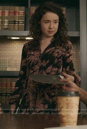 Marissa's black leaf print dress on The Good Fight