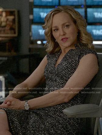 Marissa's tweed v-neck dress on Bull