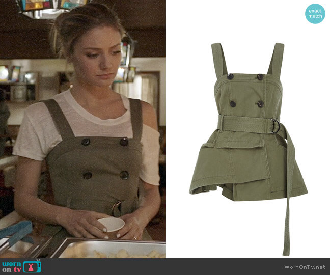 Marissa Webb Lani Trench Vest worn by Christine Evangelista on The Arrangement