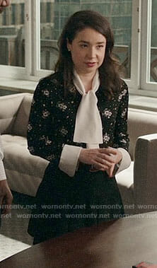 Marissa's black and white floral blouse on The Good Fight