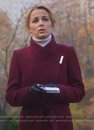 Lizzie's maroon wrap coat on Instinct