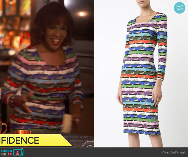 Cheetah Print Pluto Dress by Mary Katrantzou worn by Gayle King (Gayle King) on CBS This Morning