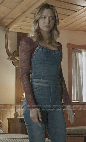 Megan's denim overalls on The Arrangement