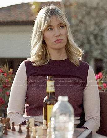 Melissa's purple colorblock sweater on Last Man on Earth