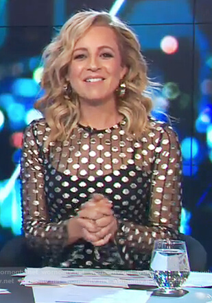 Carrie's black mesh polka dot dress on The Project