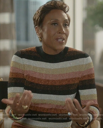 Robin Roberts striped metallic dress on Empire