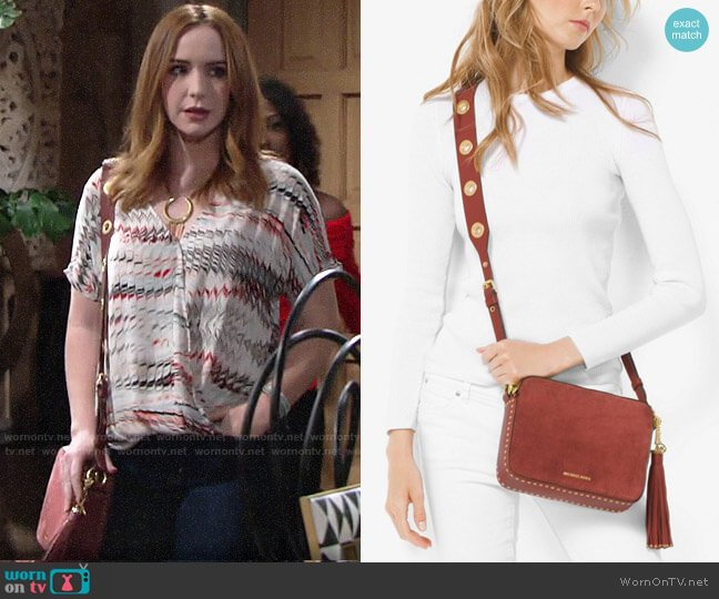 MICHAEL Michael Kors Brooklyn Suede Large Camera Bag worn by Mariah Copeland (Camryn Grimes) on The Young & the Restless