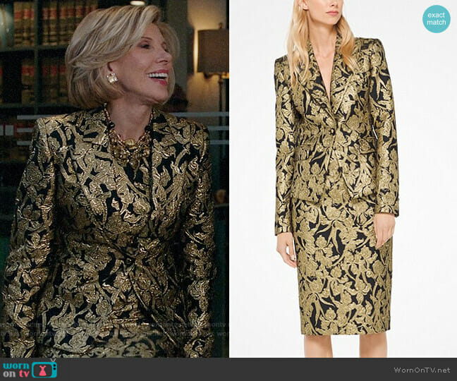 Michael Kors Floral Brocade Blazer worn by Christine Baranski on The Good Fight