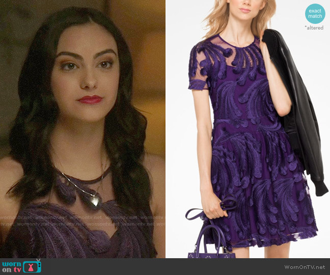 MICHAEL Michael Kors Feather-Embroidered Dress worn by Veronica Lodge (Camila Mendes) on Riverdale