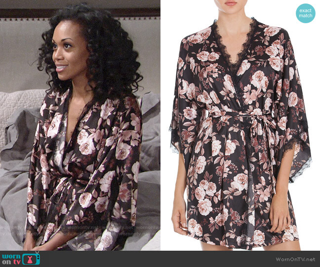 Midnight Bakery Lace-Trimmed Floral Kimono worn by Mishael Morgan on The Young & the Restless