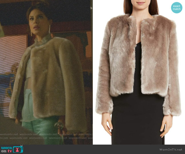 Faux Fur Jacket by Milly worn by Cristal Flores (Nathalie Kelley) on Dynasty