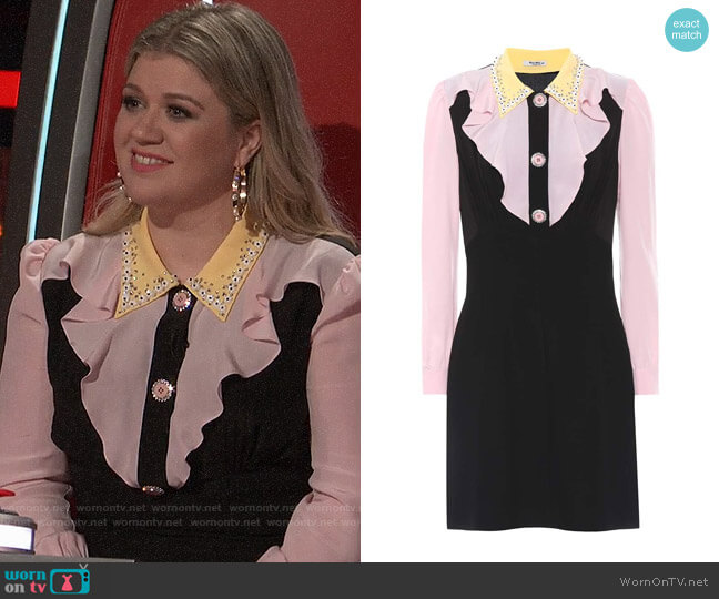 Miu Miu Embellished Silk Dress worn by Kelly Clarkson  on The Voice