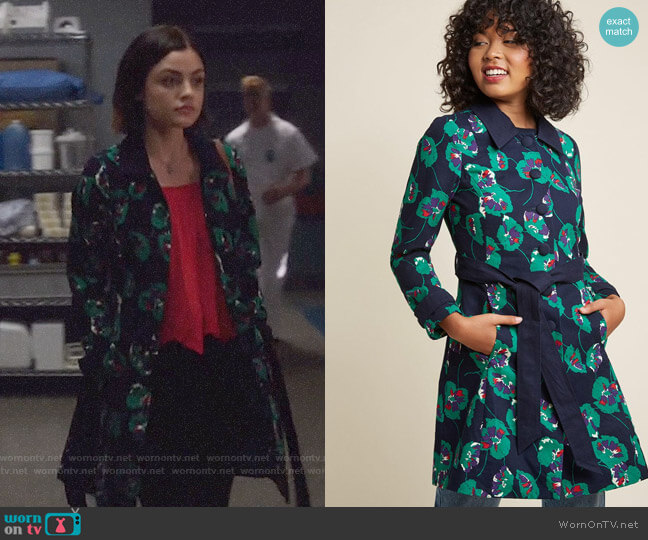 ModCloth Delightful Direction Floral Coat in Navy worn by Lucy Hale on Life Sentence