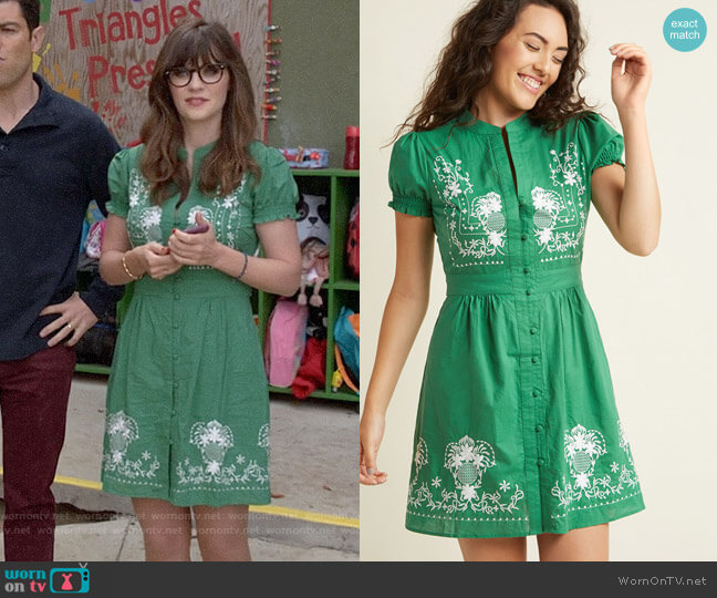 ModCloth Needlework it Out A-Line Dress in Green worn by Zooey Deschanel on New Girl