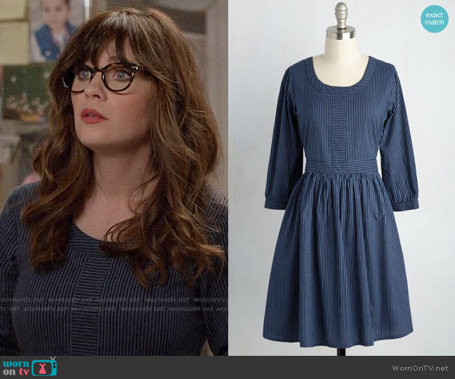 ModCloth Mata Traders Team-Building Breakfast A-Line Dress worn by Jessica Day (Zooey Deschanel) on New Girl