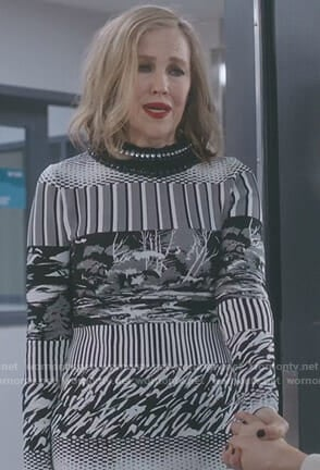 Moira's mixed print knit dress on Schitt's Creek