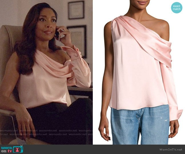 Monse One-Shoulder Long-Sleeve Draped Top worn by Jessica Pearson (Gina Torres) on Suits