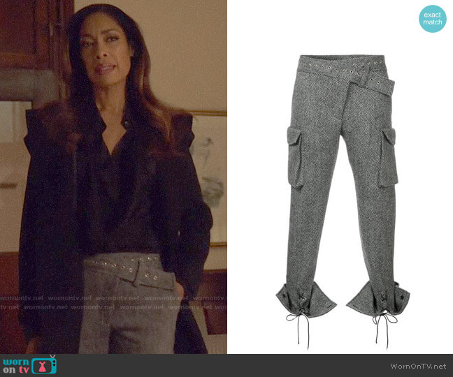 Monse Laced Cuffs Belt Detailed Trousers worn by Jessica Pearson (Gina Torres) on Suits