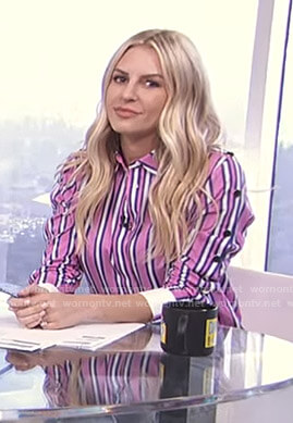 Morgan's pink striped shirt with buttoned sleeves on E! News Daily Pop