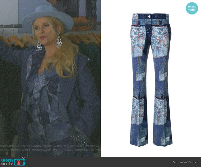 Denim Patchwork Flares by Moschino worn by Nicollette Sheridan on Dynasty