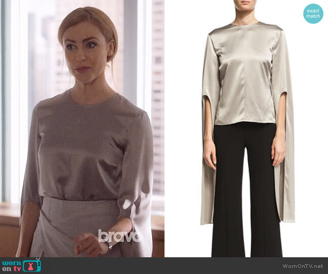 Narciso Rodriguez Silk Satin Cape-Sleeve Top worn by Katrina Bennett (Amanda Schull) on Suits