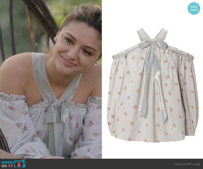 Needle & Thread Victorian Ditsy Top worn by Megan Morrison (Christine Evangelista) on The Arrangement