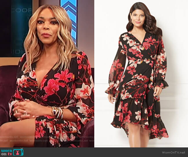 Georgina Wrap Dress by Eva Mendes Collection at New York & Company worn by Wendy Williams (Wendy Williams) on The Wendy Williams Show