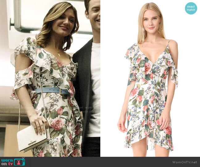 Nicholas Belle Floral Wrap Mini Dress worn by Megan Morrison (Christine Evangelista) on The Arrangement