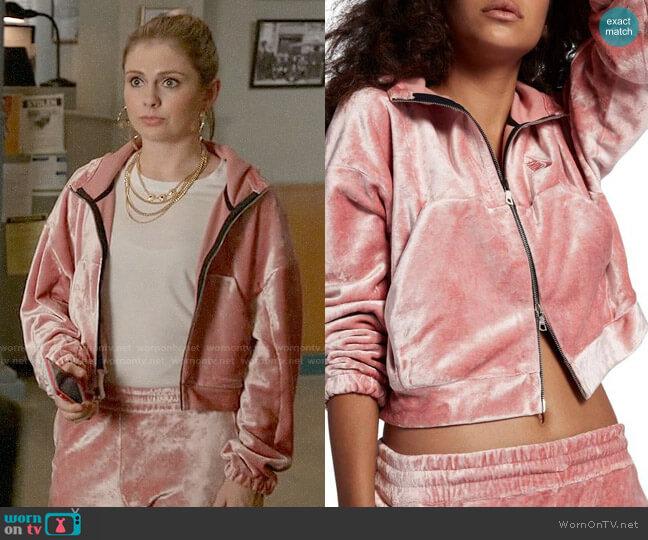Nike Pink Velour Zip Hoodie worn by Rose McIver on iZombie