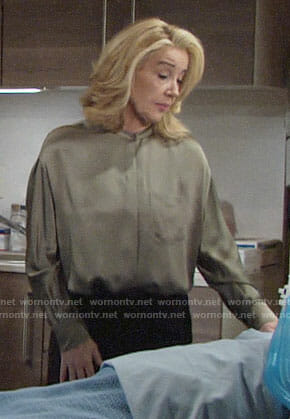 Nikki's green satin blouse on The Young and the Restless