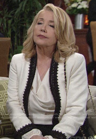 Nikki's cream jacket with black lace trim on The Young and the Restless
