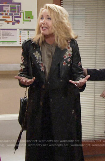 Nikki's floral leather coat on The Young and the Restless