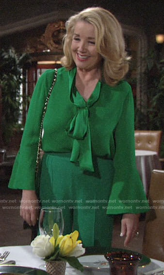 Nikki's green blouse and trousers on The Young and the Restless