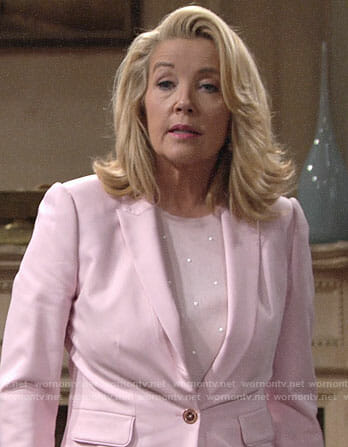 Nikki's pink blazer and dotted sweater on The Young and the Restless