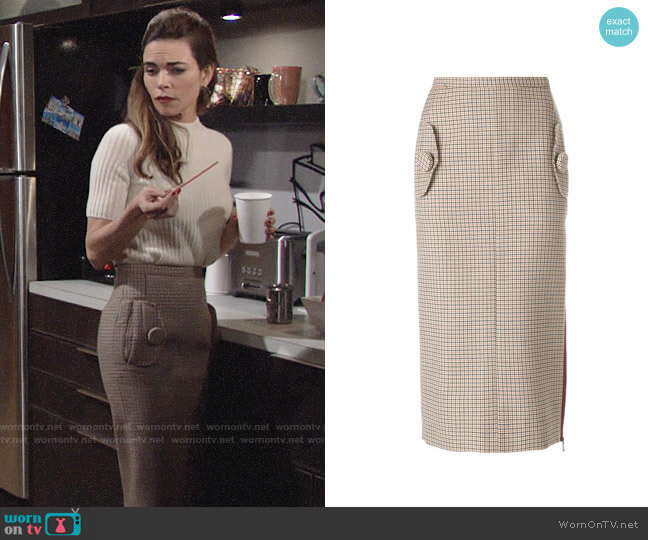 Nº21 Houndstooth Pencil Skirt worn by Victoria Newman (Amelia Heinle) on The Young & the Restless