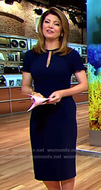 Norah's navy keyhole dress with ruffled short sleeves on CBS This Morning