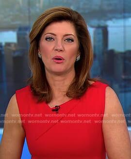 Norah's red v-neck sleeveless dress on CBS This Morning
