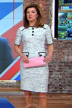 Norah's white tweed dress with floral buttons on CBS This Morning