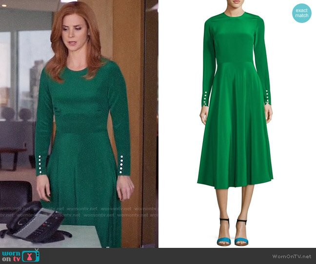Novis The Canaan Long-Sleeve Circle Skirt Dress worn by Sarah Rafferty on Suits