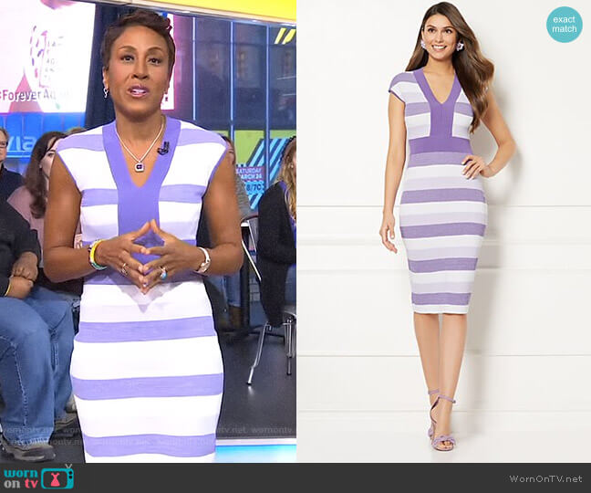 Eva Mendes Collection - Francisca Sweater Dress by New York & Company worn by Robin Roberts on Good Morning America