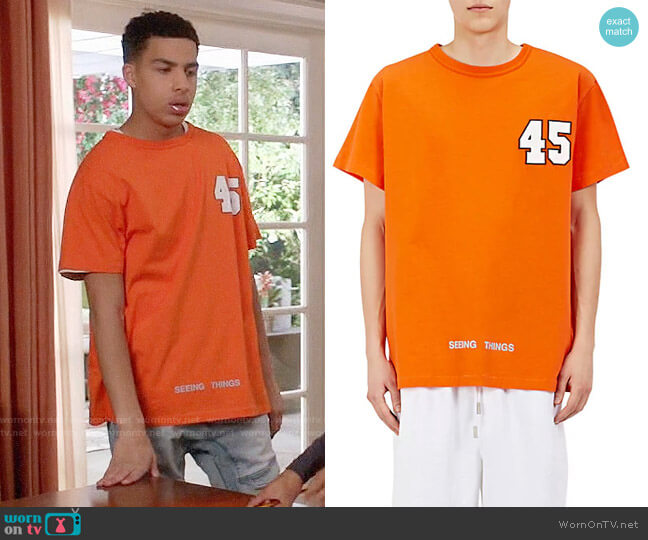 Off White c/o Virgil Abloh Seeing Things T-shirt worn by Andre Johnson Jr (Marcus Scribner) on Blackish