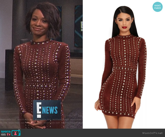 Tell Me About It Stud Suede Mini Dress by Oh Polly worn by Zuri Hall  on E! News