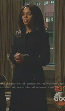 Olivia's black studded detailed coat on Scandal