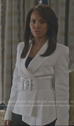 c17adeca35a Olivia s white belted jacket on Scandal
