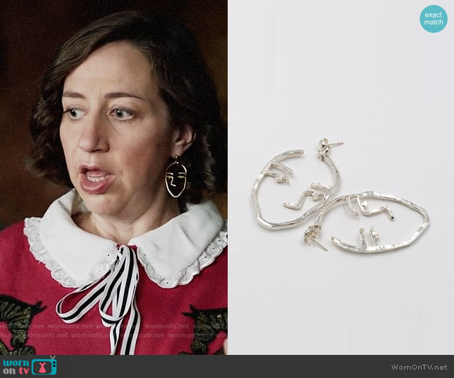 Open House Sister Earrings worn by Kristen Schaal on Last Man On Earth