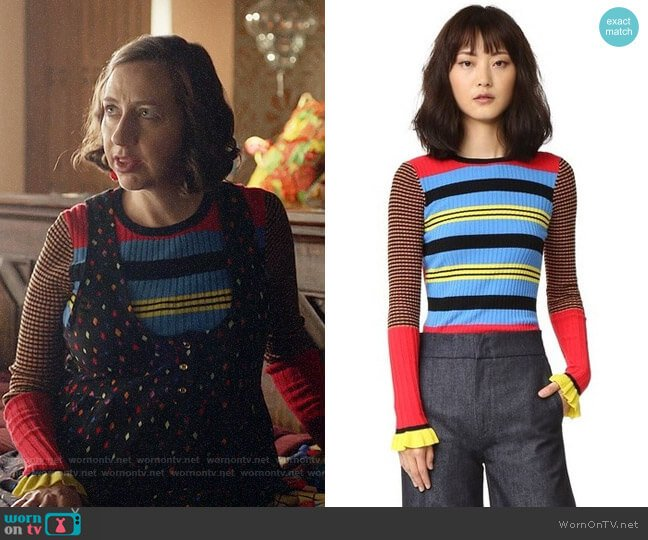 Opening Ceremony Striped Long Sleeve Crew Neck Top worn by Kristen Schaal on Last Man On Earth